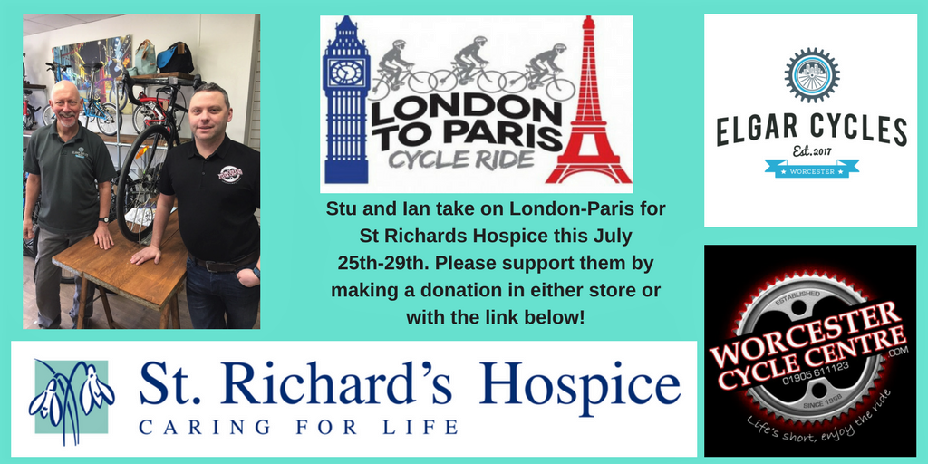 Stuart and Ian tackle London To Paris ride for St Richards Hospice.